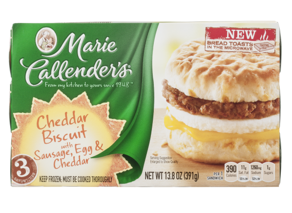 Marie Callender's Cheddar Biscuit with Sausage, Egg & Cheddar breakfast sandwich