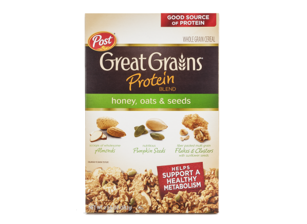 Post Great Grains Protein Blend Honey, Oats & Seeds cereal
