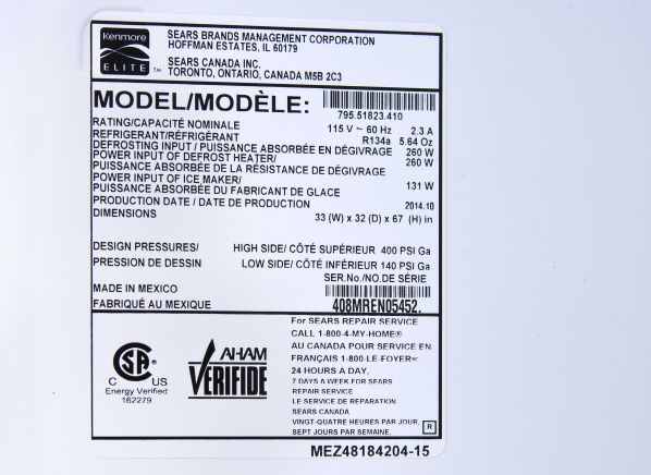 Kenmore Elite 51823 Refrigerator Summary Information From