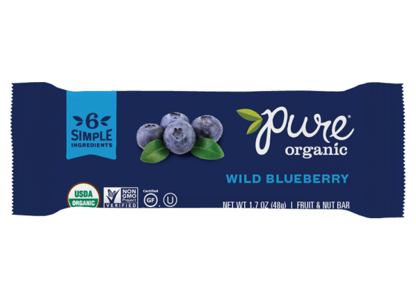 Pure Organic Wild Blueberry Fruit & Nut Bar healthy snack
