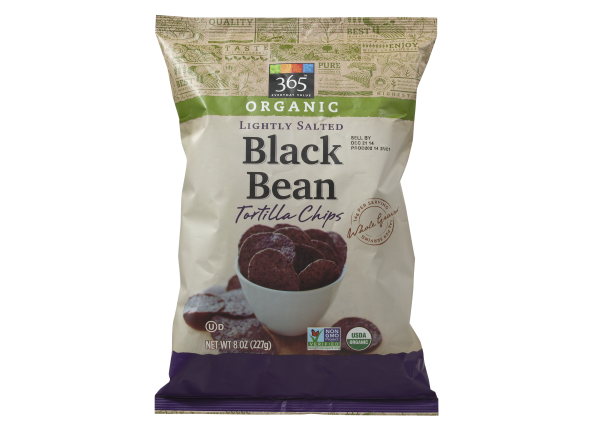 365 Everyday Value Lightly Salted Organic Black Bean Tortilla Chips (Whole Foods) healthy snack