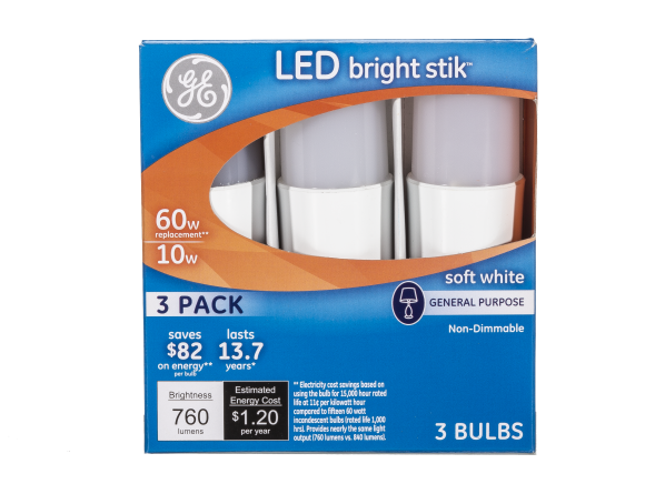 GE Bright Stick LED 60W Soft White lightbulb