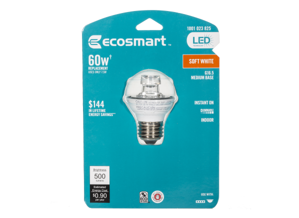 EcoSmart 60W Replacement BPGM/CL/500 LED lightbulb