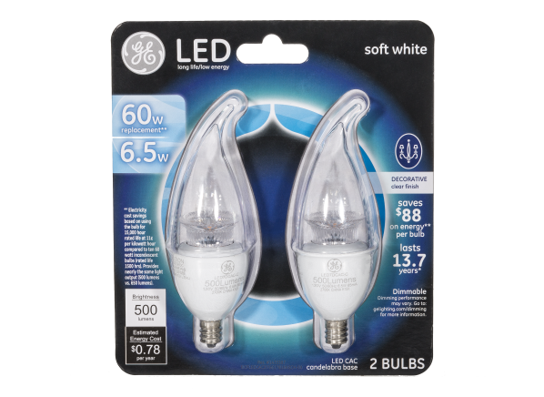 GE 60W Equivalent Dimmable Soft White Clear CA11 LED lightbulb