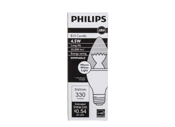 Philips 40W Blunt Tip Candle Soft White B13 Dimmable LED lightbulb