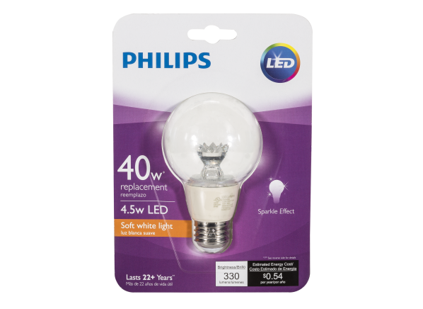 Philips 40W Soft White Clear Globe G25 Dimmable LED lightbulb