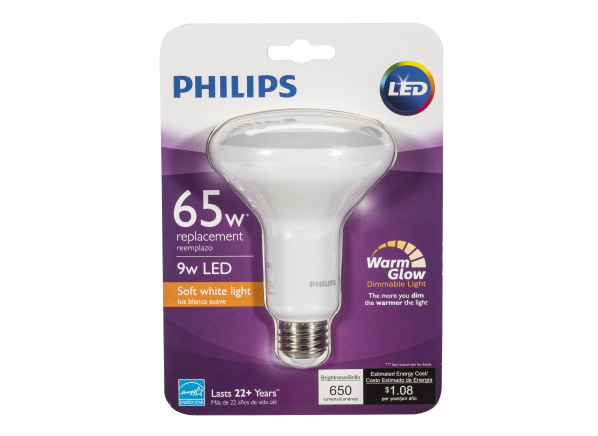 Philips 65W BR30 with Warm Glow Dimmable LED Flood lightbulb