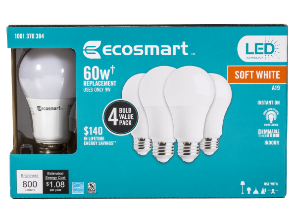 EcoSmart 60W Equivalent Soft White A19 Dimmable LED lightbulb