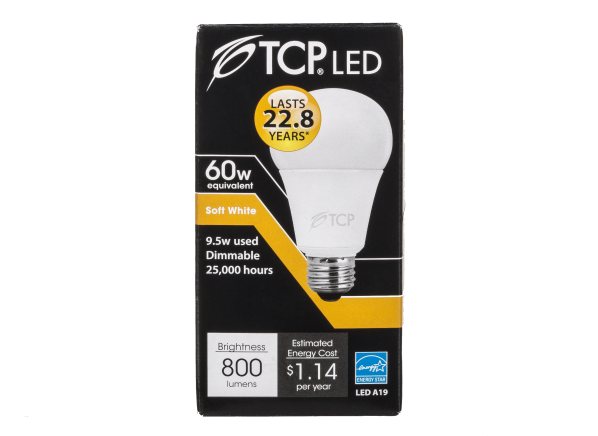 TCP 9.5W Soft White 60W Equivalent A19 LED Dimmable lightbulb