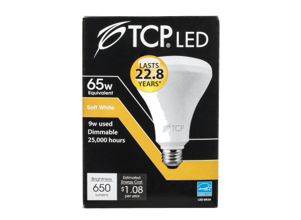TCP 9W Soft White 65W Equivalent BR30 LED Dimmable lightbulb