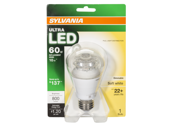 Sylvania 10-Watt 60W Equivalent A19 Soft White Dimmable LED lightbulb