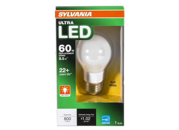 Sylvania 8.5 Watt 60W Equivalent A19 Soft White Dimmable LED lightbulb