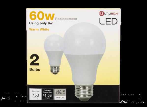 Utilitech 9 Watt 60W Equivalent A19 Warm White LED lightbulb