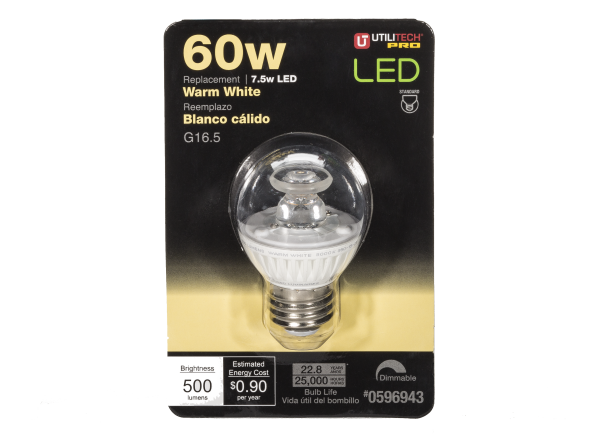Utilitech 7.5-Watt 60W Equivalent Decorative Warm White LED lightbulb