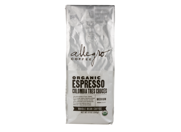 Allegro (Whole Foods) Organic Espresso Colombia Tres Cruces whole bean coffee