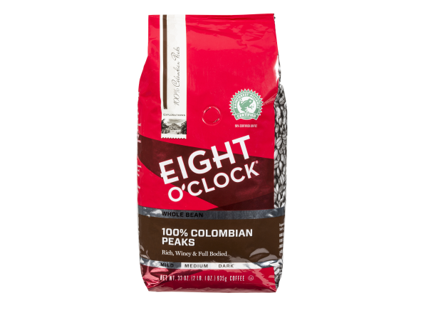 Eight O'Clock 100% Colombian Peaks whole bean coffee