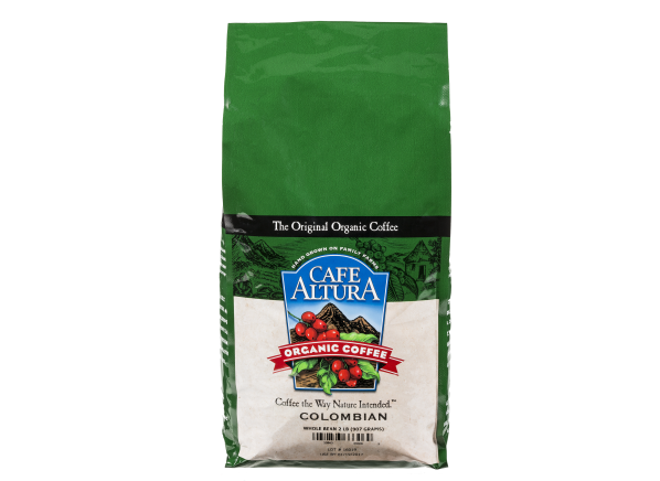Cafe Altura Organic Colombian whole bean coffee