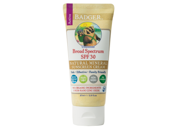 Badger Active Natural Mineral Cream SPF 30 Unscented sunscreen