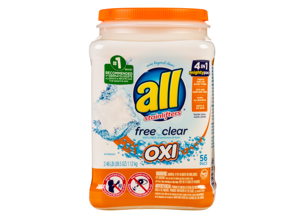 All Mighty Pacs Oxi Free & Clear laundry detergent