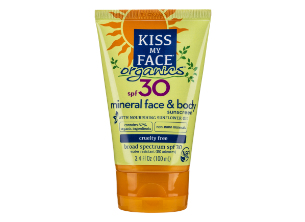 Kiss My Face Organics Face and Body Mineral Lotion SPF 30 sunscreen