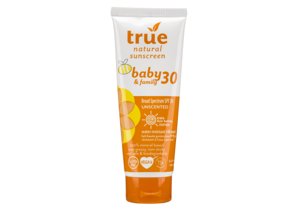 True Natural Baby & Family Unscented Lotion SPF 30 sunscreen
