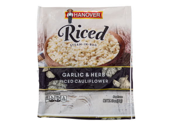 Hanover Steam-in-Bag Riced Cauliflower Garlic & Herb frozen food