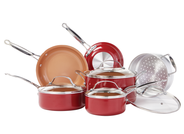 Red Copper Ceramic Infused Nonstick Cookware Consumer