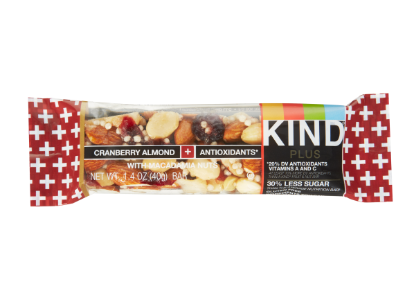 Kind Plus Cranberry Almond + Antioxidants with Macadamia Nuts Bar healthy snack