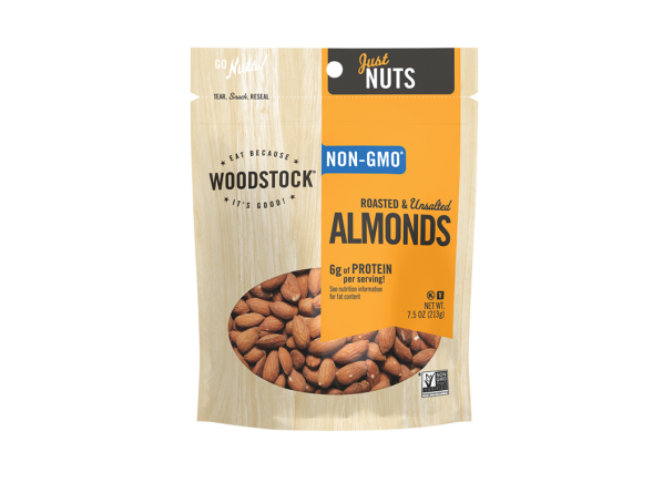 Woodstock Roasted & Unsalted Almonds healthy snack