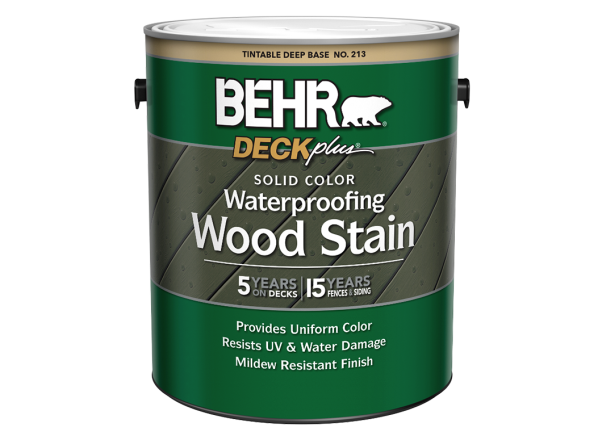 Behr Deckplus Solid Color Waterproofing Wood Stain (Home Depot)