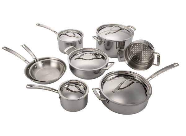 Kirkland Signature Costco 13 Piece Stainless Steel Tri Ply Clad Cookware Consumer Reports