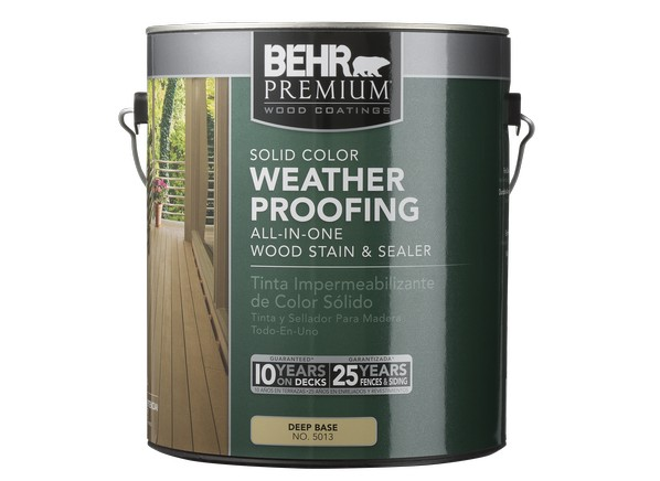 Behr premium solid color weatherproofing wood stain home - Behr exterior wood stain reviews ...