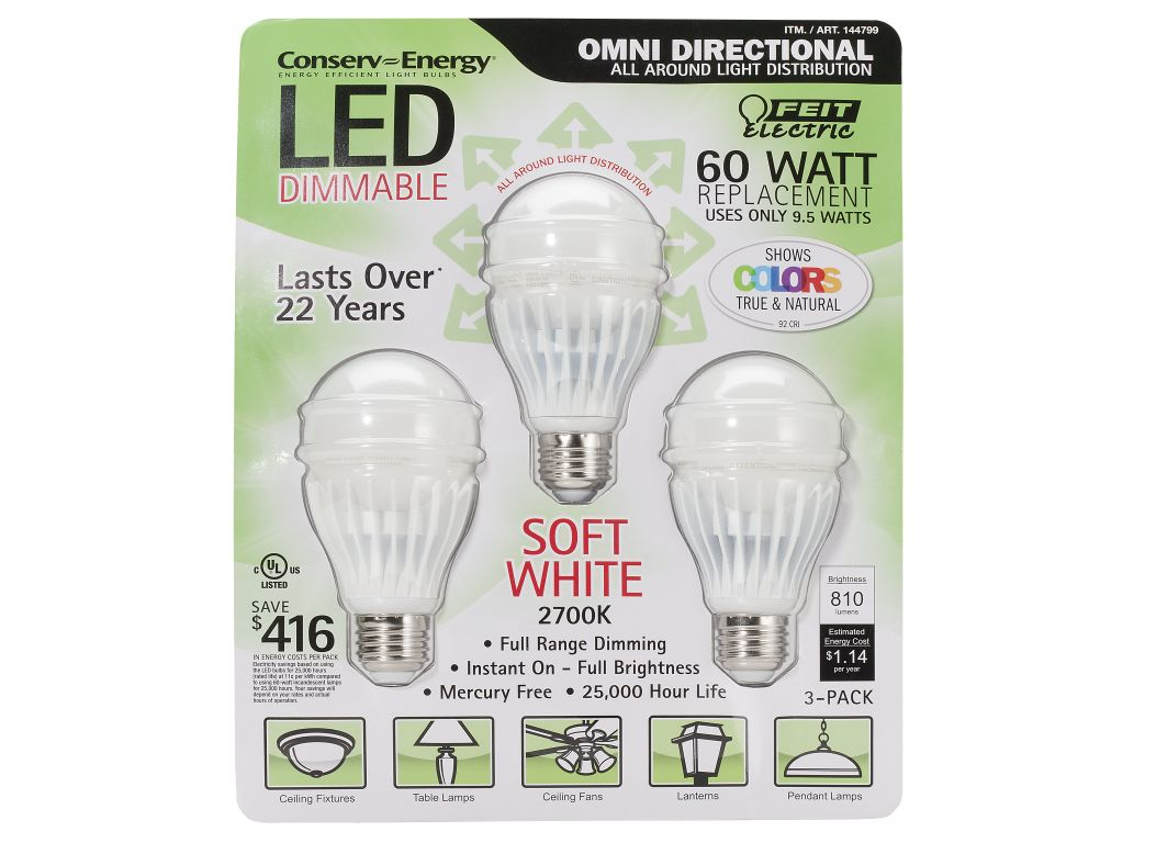 Feit Electric 60 Watt Replacement 9.5 W LED Lightbulb - Consumer Reports